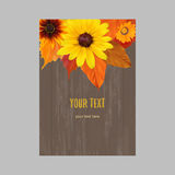 Bright vertical autumnal vector banner. Vertical banner with yellow, orange, red autumn leaves, fall colors on wood surface Stock Images