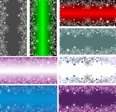 Bright vertical red and green banners with snowflakes and stars for Christmas or new year design. Bright vertical and horizontal red, blue, purple and green stock illustration