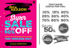 Bright Vertical Super Sale Pink Banner. End of Season Special. Offer, Sale Up To 50% Off. Seamless Triangles Pattern. Vector Template for Shop, Market, Flyer Royalty Free Stock Photo