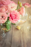 Bright vintage background with roses and bokeh Stock Photo