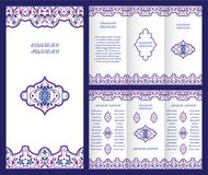 Arabic ornate booklet. Bright vintage booklet with decorative ornament in Oriental style. Vector template for invitation design, page layouts, brochures, flyers Stock Images