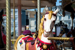 Bright vintage carousel in a French Honfleur. Stock Images