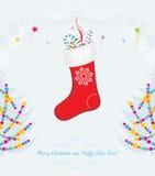 Bright vintage Christmas postcard royalty free stock image
