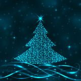 Bright  Christmas tree in blue colors Royalty Free Stock Photos