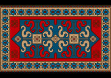 Bright vintage rug with ethnic pattern dragons Stock Photography