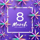 Bright Violet Holographic Flowers. Happy Womens Day. International 8 March. Mothers Day. Modern Paper cut Futuristic. Floral Greetings card. Spring blossom vector illustration