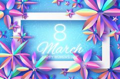 Bright Violet Holographic Flowers. Happy Womens Day. International 8 March. Mothers Day. Modern Paper cut Futuristic. Floral Greetings card. Spring blossom Royalty Free Stock Images