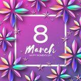 Bright Violet Holographic Flowers. Happy Womens Day. International 8 March. Mothers Day. Modern Paper cut Futuristic. Floral Greetings card. Spring blossom Royalty Free Stock Photos