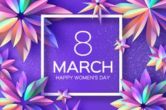 Bright Violet Holographic Flowers. Happy Womens Day. International 8 March. Mothers Day. Modern Paper cut Futuristic. Floral Greetings card. Spring blossom Stock Photos
