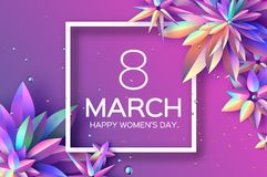 Bright Violet Holographic Flowers. Happy Womens Day. International 8 March. Mothers Day. Modern Paper cut Futuristic. Floral Greetings card. Spring blossom Stock Image
