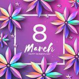 Bright Violet Holographic Flowers. Happy Womens Day. International 8 March. Mothers Day. Modern Paper cut Futuristic. Floral Greetings card. Spring blossom Stock Photography
