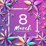 Bright Violet Holographic Flowers. Happy Womens Day. International 8 March. Trendy Mothers Day. Modern Paper cut. Futuristic Floral Greetings card. Trendy royalty free illustration