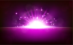 Bright violet light rising from the black horizon Royalty Free Stock Images