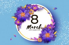 Bright Violet Origami Flowers. Happy Women`s Day. 8 March. Trendy Mother`s Day. Paper cut Exotic Tropical Floral. Greetings card. Spring blossom on sky blue Royalty Free Stock Image