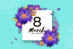Bright Violet Origami Flowers. Happy Womens Day. 8 March. Trendy Mothers Day. Paper cut Exotic Tropical Floral Greetings. Card. Spring blossom on blue sky Stock Image