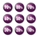 Bright Violet Purple Round Buttons With Discount Tags Stock Photos