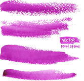 Bright violet watercolor paint vector strokes Royalty Free Stock Photos