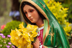 Bright Virgin Mary Statue Stock Photo