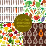 4 Bright  Vitamins seamless patterns. Vector set of vitamin rich Royalty Free Stock Photos