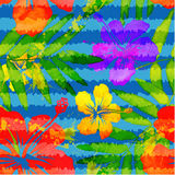 Bright vivid colors watercolor tropical flowers. Vector seamless pattern with grunge stripes Royalty Free Stock Image