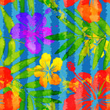 Bright vivid colors watercolor tropical flowers. Vector seamless pattern with grunge vertical stripes Stock Photos