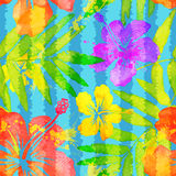 Bright vivid colors watercolor tropical flowers. Vector seamless pattern with grunge vertical stripes Stock Images