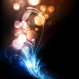 Bright and vivid floral vector background. Colorful, bright and vivid abstract vector background with floral elements and bokeh lights Royalty Free Stock Image