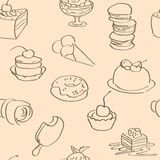 Bright wallpaper with hand drawn sweets Royalty Free Stock Photography