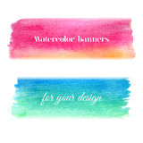 Bright watercolor banners set. Abstract hand drawn watercolor banners for background Royalty Free Stock Image