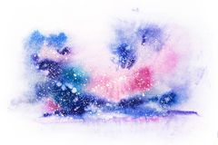 Bright watercolor blue pink purple red stain drips blobs. Abstract illustration stock illustration