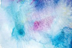 Bright watercolor blue pink purple red stain drips blobs. Abstract illustration royalty free stock photography