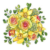 Bright watercolor flower bouquet with yellow-pink roses, orchids Royalty Free Stock Photo