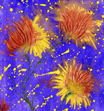 Bright watercolor flowers with blots. Like a stars vector illustration