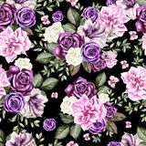Bright watercolor flowers seamless pattern with roses, peony, petunia and butterfly. Royalty Free Stock Image