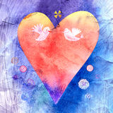 Bright watercolor heart Stock Photography