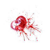 Bright watercolor heart with paint streaks. Royalty Free Stock Image