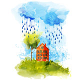 Bright watercolor house Stock Photography