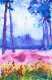 Bright watercolor illustration of a Russian field with flowers with a forest in the background stock illustration