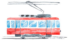 Bright Watercolor Illustration of Traditional Public Tram Royalty Free Stock Images