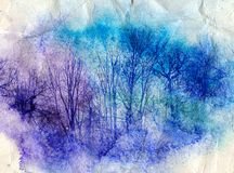 Bright watercolor landscape with trees Stock Photos