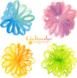 Bright watercolor painted flowers in naive style royalty free illustration