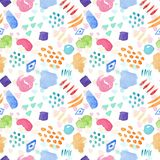 Bright watercolor pattern with color stains. Bright seamless watercolor pattern with color stains, drops and lines. Beautiful hand drawn ornament for textile vector illustration