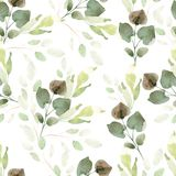 Bright watercolor pattern with leaves. Royalty Free Stock Photos