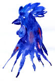Bright watercolor rooster blue. Hand drawn illustration for your graphic design. Rooster - a symbol of the 2017 New Year. Bright watercolor rooster blue. Hand Stock Images