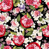 Bright watercolor seamless pattern with flowers, blackberries an. D fruits of pomegranate, fig. Illustration Stock Photos