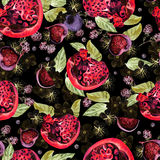 Bright watercolor seamless pattern with flowers, blackberries an. D fruits of pomegranate, fig. Illustration Royalty Free Stock Images