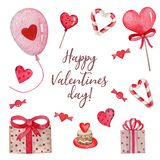 Bright watercolor set of cute things for Valentine`s Day stock illustration