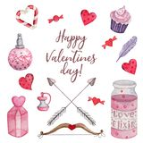 Bright watercolor set for Valentine`s Day royalty free illustration