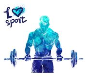 Bright watercolor silhouette of a man with a barbell. Vector sport illustration.   Stock Photos