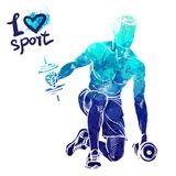 Bright watercolor silhouette of a man is training with dumbbells. Vector sport illustration. Graphic figure of the athlete. Active people. Recreation lifestyle royalty free illustration